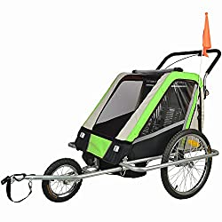 Suspension jogging stroller bike trailer combo