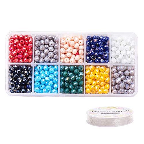 PandaHall 1100 Piezas 10 Cuentas de Cristal facetado Briolette de 10 Colores, Cuentas de Cristal Briolette Rondelle con Bolsa de Organza Naranja y Cuerda de Cristal para Hacer Collares y Pulseras