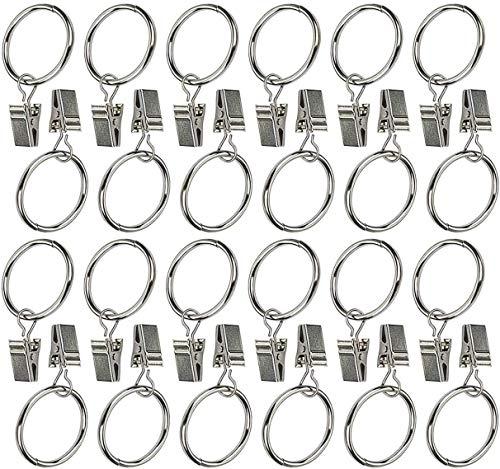 """Ogrmar 24Pcs 1"""" Nickel Plating Metal Curtain Clip Rings (1"""")"""