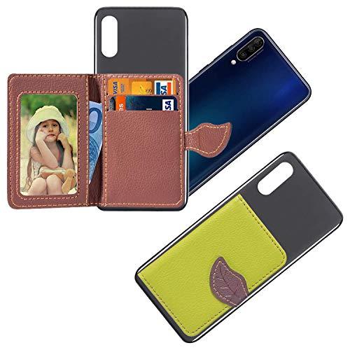 vingarshern HandyHülle für DOOGEE Y300 Schutzhülle Mit Haftendes Mini Geldbörse,Kartenhülle Aufklebbare Bumper Etui Doogee Y300 Hülle Silikon Hülle+Leder Brieftasche,Grün