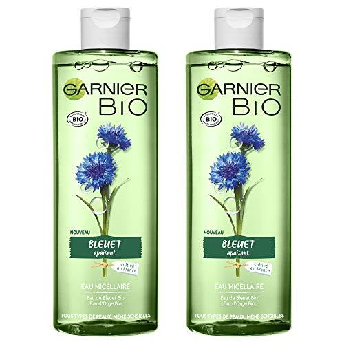 Garnier Bio Agua micelar limpiadora , Agua orgánica de aciano para piel y ojos sensibles - 400 ml - Juego de 2