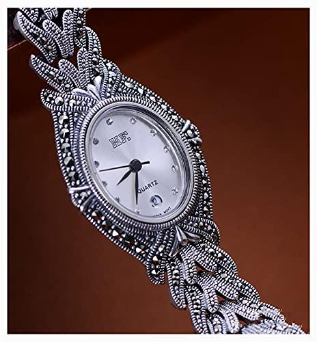 CHXISHOP Women's Vintage Watch 925 Sterling Silver Jewelry Peugeot Women's Petite Redondo Reloj de Pulsera con Brazalete