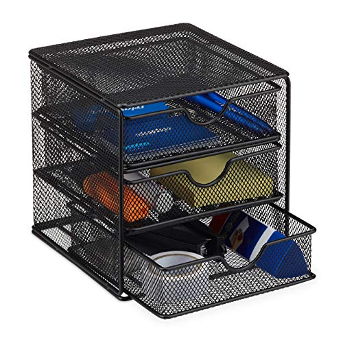 Relaxdays Schreibtischorganizer, Büroablage aus Metallgeflecht, Ablagebox für Bürobedarf, HxBxT: 17 x 16 x 17cm, schwarz