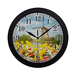 INTERESTPRINT Holland Dutch Windmill Over Colorful Tulips Field at Sunny Day Modern Quartz Wall Clock Silent Non Ticking Decorative Indoor Kitchen Living Room Round Retro Clock, Black