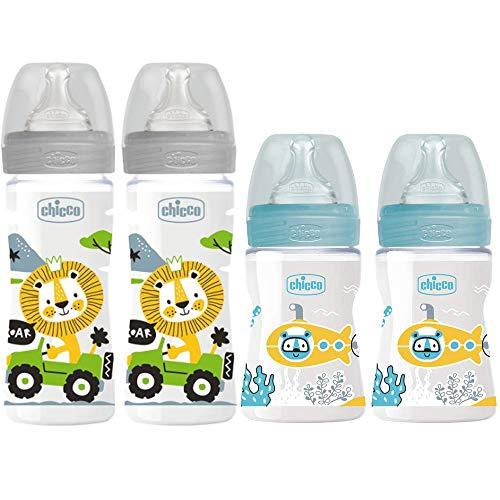 Chicco Antikolik Flaschen Set Uni, Babyfläschchen 4er Pack ab Geburt bis 6 Mo.