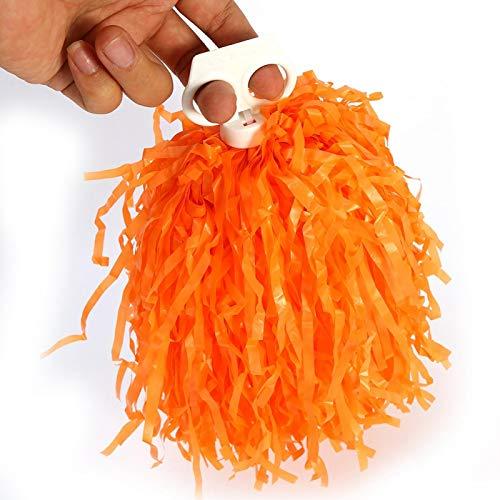 DAUERHAFT 2 Piezas PE Accesorios de Baile Pompones, para animar a los Jugadores de escuadrones(Orange)