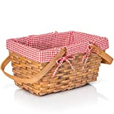 Big Mo's Toys Picnic Basket - Woven Natural Woodchip Wicker Basket with Double Handles and Red and White Gingham Blanket...