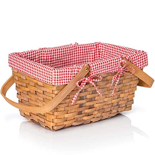 Big Mo's Toys Picnic Basket - Woven Natural Woodchip Wicker Basket with Double Handles and Red and White Gingham Blanket Lining