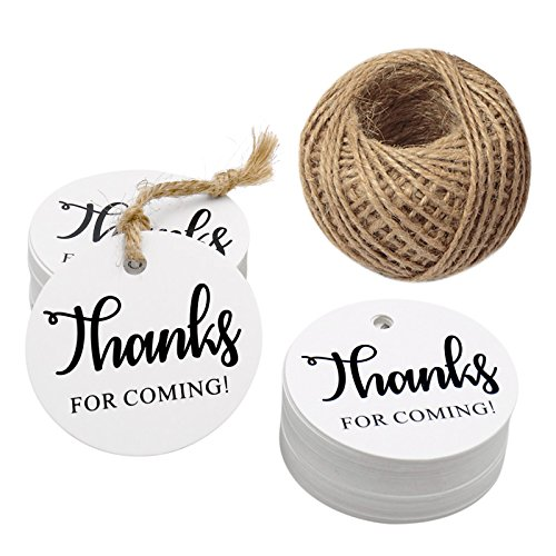 Thanks for Coming Tags,100 PCS Round Tags,Kraft Paper Gift Tags with 100 Feet Natural Jute Twine Perfect for Baby Shower,Wedding Party Favor (White)