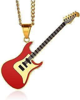 BOBIJOO Jewelry - Gran Collar De La Guitarra Eléctrica Rock De Acero De Oro Oro Negro