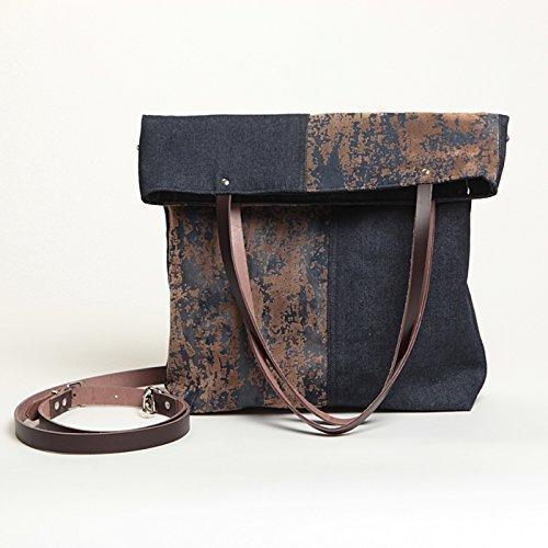Bolso de hombro plegable vaquero para mujer - Bandolera grande de tela - Multifunción - Bolso tote y bandolera - SONI