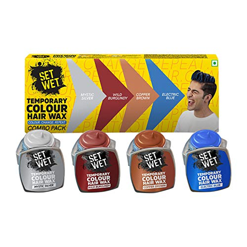 Set Wet Temporary Colour Hair Wax Combo Pack, Gone in 1 Wash, No Bleach,No Alcohol & No Hair Whitening, Applicator Brush,Mystic Silver, Wild Burgundy, Copper Brown, Electric Blue, 4 Packs, Each 7 gm