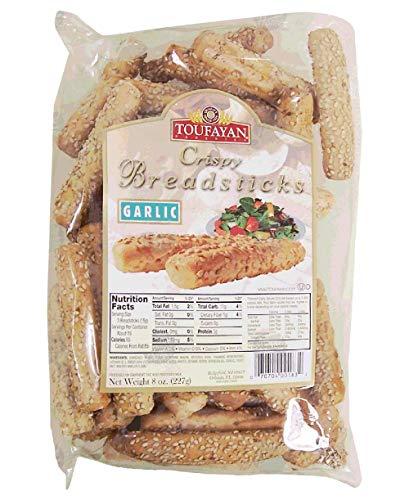 Toufayan: Crispy Bread sticks |Garlic| Crunchy and delicious| 227g|8oz.