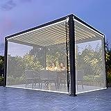 Persiana Enrollables Bambú Patio de Cortinas Enrollables Transparentes, 60cm / 80cm / 100cm / 120cm / 140cm de Ancho Cortinas Enrollables de Plástico Transparente Impermeables Grandes para Pérgola de