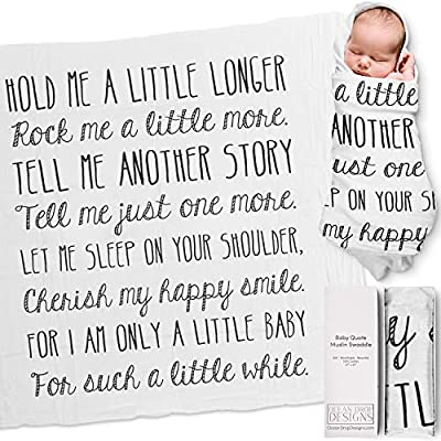 """Ocean Drop 100% Cotton Muslin Swaddle Baby Blanket – 'Hold Me' Quote with Gift Box for Boys and Girls, Neutral, Baptism, Newborn, Baby Shower, Christening – Super Soft, Breathable, Large """"47x47"""" by Ocean Drop Designs"""