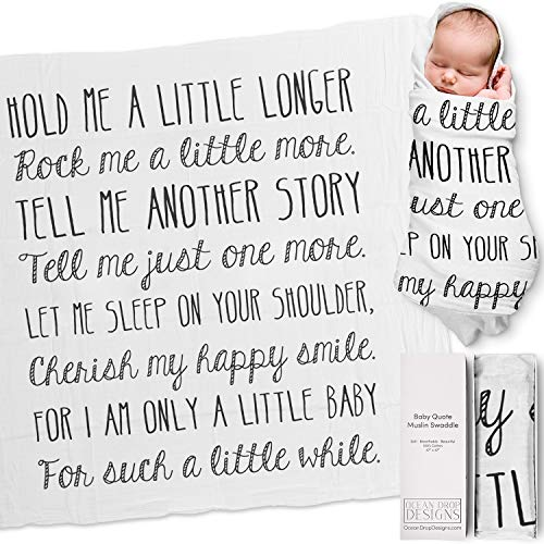 """Ocean Drop 100% Cotton Muslin Swaddle Baby Blanket – 'Hold Me' Quote with Gift Box for Boys and Girls, Neutral, Baptism, Newborn, Baby Shower, Christening – Super Soft, Breathable, Large """"47x47"""""""