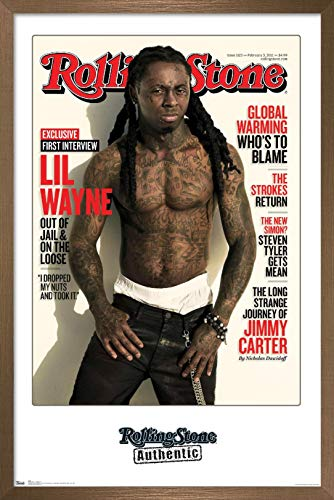 Trends International Rolling Stone Magazine - Lil Wayne 11 Wall Poster, 22.375' x 34', Bronze Framed Version