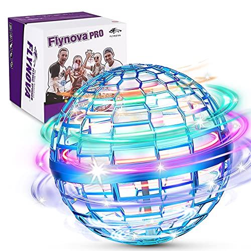 FLYNOVA PRO Fly orb Juguetes,3 Colores Mini Drones,Con 360 ° Spinner UFO Volador,Lncorporado RGB-LED Resplandor Voladora Juguetes,Adecuado para niños y adultos en interioresyExterioresJuguetes(Azul)