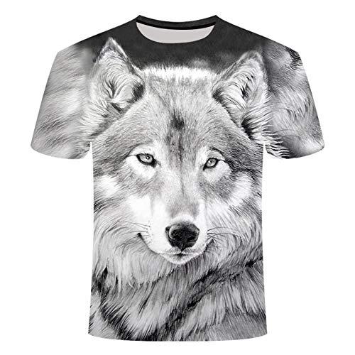 HYTR 3D Camisetas Verano 3D Cabeza De Lobo Camiseta Hombre Cuello Redondo Manga Corta Camiseta Hombres Moda Camiseta Manga Corta XL