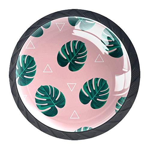 Paquete de 4 pomos para gabinete de setas, tiradores de cristal, pomos redondos de 1.18 pulgadas para armarios de cocina, armarios, aparadores, armarios, hojas rosas