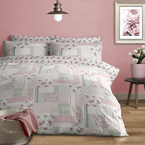 Jansons Direct Linens 100% Brushed Cotton Patchwork Garden Design Duvet Cover Set Single Bed Size in Grey & Pink Reversible