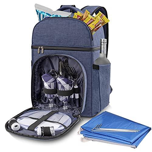 Vogano Picknick-Rucksack für 2 Personen mit Kühlfach, isoliert, mit leichter Stranddecke, Besteckset, große Kühltasche