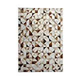 Rug Cowhide Stitching Gradient Geometry Carpet Bedroom Home Living Room Luxurious Carpet (Size : 90 * 150CM)