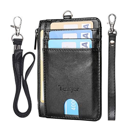 Teskyer Schlanke minimalistische Geldbörse, RFID-blockierender Kreditkartenhalter, Vordertasche, Leder-ID-Brieftasche für Männer und Frauen