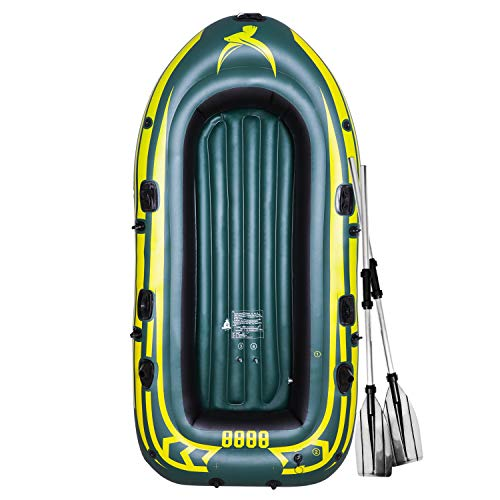 Yocalo Inflatable Boat Series,raft Inflatable Kayak, Fishing Boat Kayak,2-3 Person Boat with Aluminum Oars, Cushion, Rope,Repair Patch and High Output Hand Pump