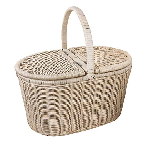 Cesta de picnic de ratán Cesta de compras portátil Cesta d