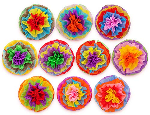 """Cinco De Mayo Decorations Fiesta Tissue Pom Paper Flowers - Mexican Party Supplies 16"""" (Set of 10)"""