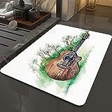 Alfombra Antideslizante Alfombra,Decoración musical, ramas de guitarra de madera Clásica pradera verano p,Espuma de Memoria Piso Baño Alfombra Absorber Alfombra de baño Suave Alfombra de baño 50x80 cm