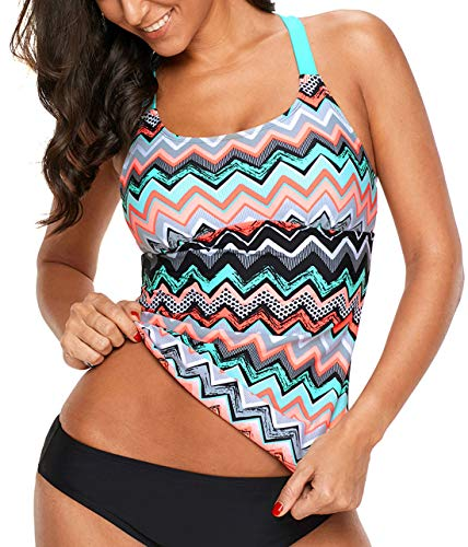 Aleumdr Womens Strappy Racerback Striped Color Block Printed Padded Tankini Tops Padded Swimsuits Sporty Bathing Suits Rose Plus Size Swimwear 2XL 18 20