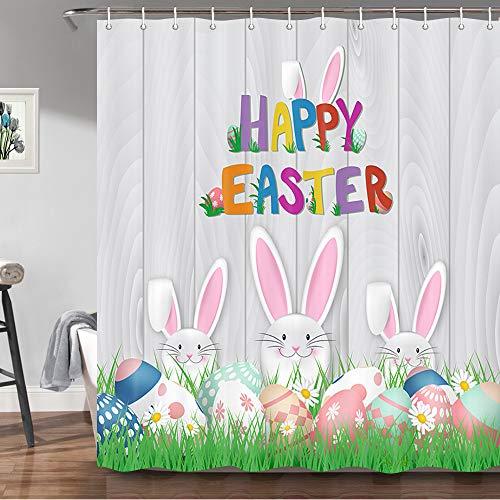 JAWO Happy Easter Duschvorhang, niedliches Kaninchen, bunte Ostereier-Druck, graues Holzbrett, Badezimmervorhänge, grünes Gras, Dekostoff, Badvorhang mit Haken, Set, 175 x 178 cm