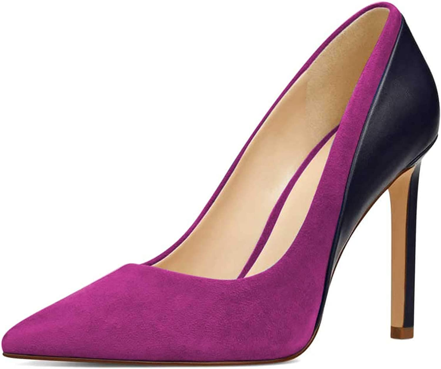 FSJ Women Formal Dress High Heels Pumps Pointy Toe Faux Suede Elegant Slip On Office shoes Size 4-15 US