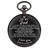 Engraved Pocket Watch for Dad,Customized Pocket Fob Watch Necklace Chain Quartz Watches for Men Birthday Anniversary Personalized Pocket Watch (for Dad)