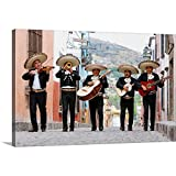 Mariachi Band Walking in Street Canvas Wall Art Print, Artwork