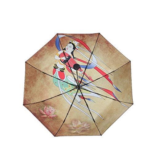 Y-S Taschenschirme Sonnenschirm Regenschirm Retro-Vintage Schwarzer Kleber Dreifachgefaltet Klein und Frisch Sonnenschein und Regen Sonnencreme Anti-Ultraviolett Sunumbrella Flying Pipa, Fliegende