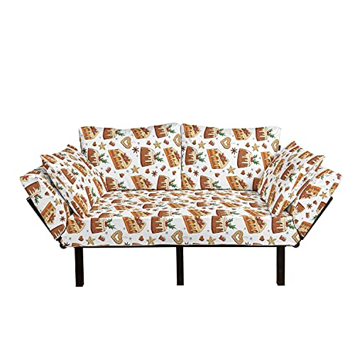 Lunarable Christmas Futon Couch, New Year Pastry Cakes Cookies and Chocolates Bakery Hazelnut Ginger, Daybed with Metal Frame Upholstered Sofa for Living Dorm, Loveseat, Cinnamon Peach and Green