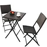 Grand patio Parma Rattan Patio Bistro Set, Weather Resistant Outdoor Furniture Sets with R...