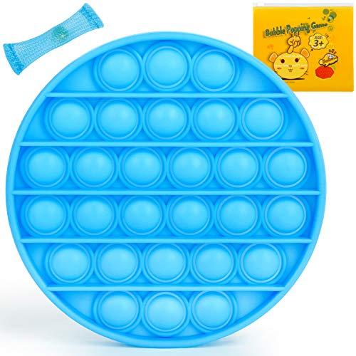 Push Pop Bubble Sensory Zappeln Spielzeug, Autismus Besondere Bedürfnisse Stressabbau Silikon Stressabbau Spielzeug Anti-Angst Zappeln (blue round)