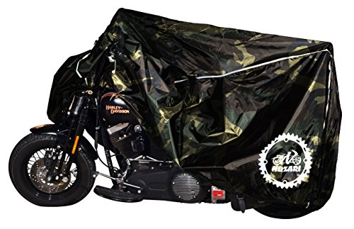 Breathable Motorcycle Cover W/elastic Bottom. Premium Heavy Duty Outdoor Waterproof All Season Polyester W/soft Screen Shield. Universal Heat Resistant Lockable Fabric (Camouflage, Extra Large)