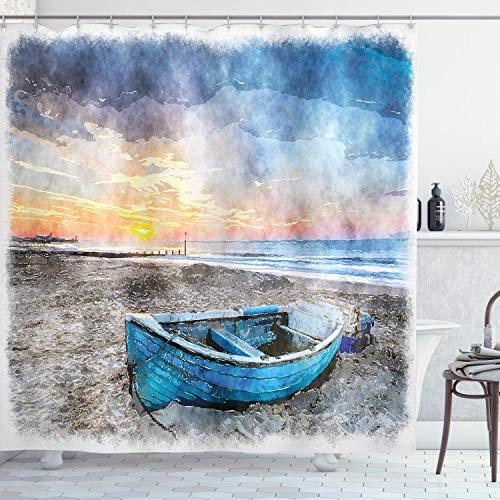 N \ A Sunrise Cortina de ducha, barco de pesca en la playa con horizonte en el telón de fondo, impresión de acuarela, tela de tela para baño con ganchos, 183 x 183 cm, naranja azul