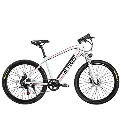 GTWO Bicicleta eléctrica de 27.5 Pulgadas 350W Bicicleta de montaña 48V 9.6Ah Batería de Litio extraíble 5 Pas Freno de Disco Delantero y Trasero (White Red, 9.6Ah)