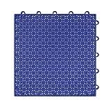Suelo flotante plastico para jardín exterior deportes Baloncesto Piscina 25x25x1.25cm 16 piezas / 1m2 - suelo plastico rejilla (Baldosas 25x25cm 16 piezas/1m2 azul)