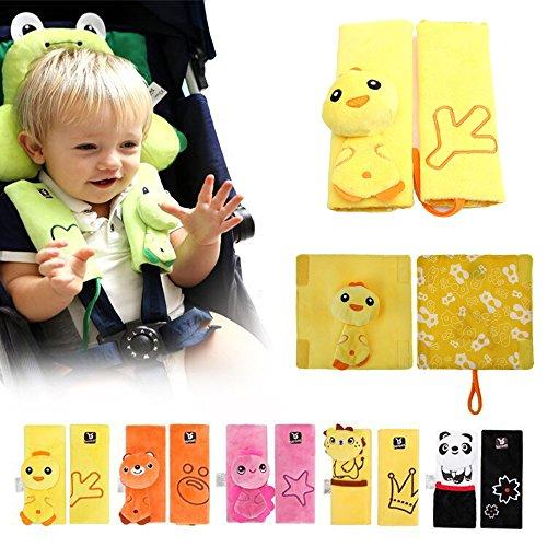 INCHANT animal de dibujos animados bebé cochecito infantil Cushy Straps, niños niños que protegen las almohadillas de la correa Belt Cover para carrito - 2 pc por juego