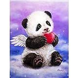 FHGFB 5D DIY「Angel Panda Amor」Full Diamond Painting,Mosaico de Hecho a Mano Punto de Cruz Diamante Bordado,Decoración navideña La Obra de Arte de Regalo más diseñada -50x40cm