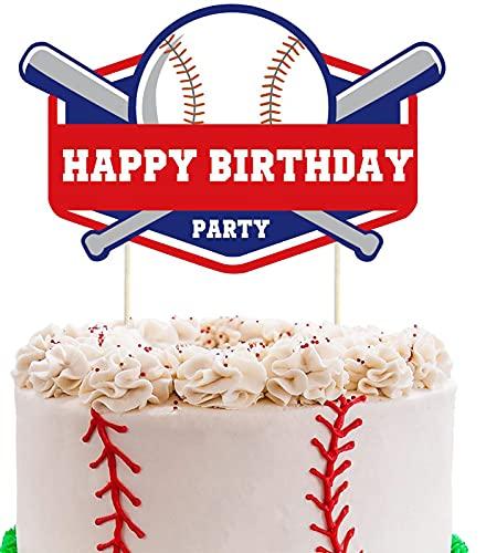 Baseball Cake Topper,Baseball Birthday Party Supplies Baseball Themed Happy Birthday Cake Topper