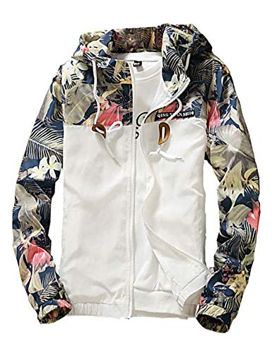 Rexcyril Men's Windbreaker Jacket, Floral Bomber Jacket Hooded Lightweight Zip-up Drawstring Flower Coat White Medium