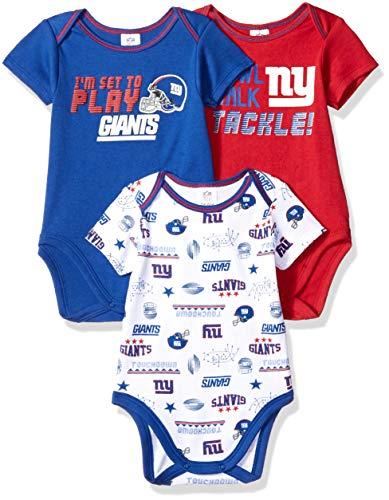 NFL New York Giants Baby-Boy 3 Pack Short Sleeve Variety Bodysuit, Team Color, 3-6 Months